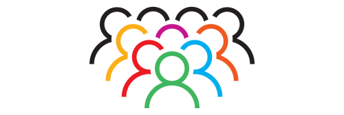 decorative element - Large group of humans multicolored graphic