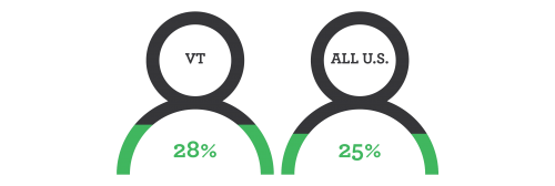 decorative element - 28% Vermont, 25% The United States