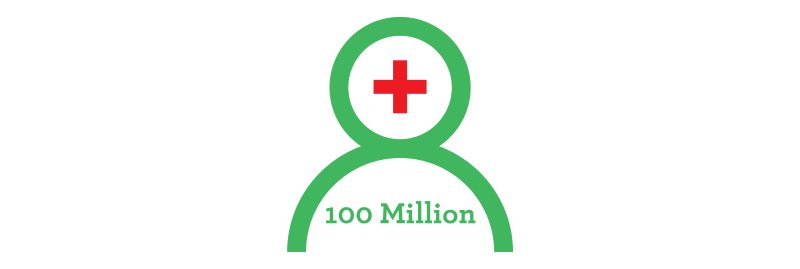 decorative element - human with text '100 million' graphic
