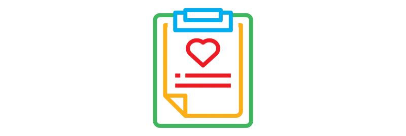 decorative element - clipboard graphic with heart